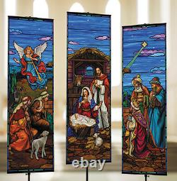 2' x 6' Nativity Stained Glass Banner Set Satin Polyester