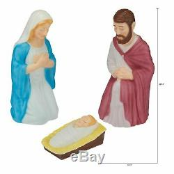 28.5 Lighted Outdoor Nativity 3 Pc Set Holy Family Large Christmas Display NEW
