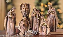 7 pc Nativity Set Natural Color with Wood Carved Inspired Detail Polyresin NEW