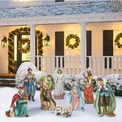9-piece Outdoor Nativity Set, Hand-Sculpted Hand-Painted, Christmas Holiday