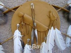 AUTHENTIC HANDMADE Native American NAVAJO Bow and Arrows WithShield TAN SET 38