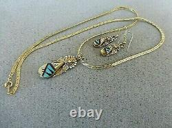 Auth. Native American Indian Zuni Sterling/ 12K GF/ Inlaid Necklace & ER Set