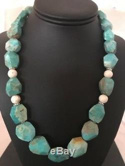 Chunky Native American Sterling Silver Faceted Turquoise Mens Necklace Set