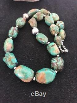 Chunky Native American Sterling Silver SpiderWeb Green Turquoise Necklace Set20