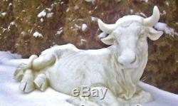 Cow Ox Statue Outdoor Nativity Set 20 inch White Resin Best Nativity Set Yet 27