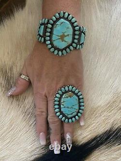 Genuine NATIVE AMERICAN Kingman Turquoise Cluster Cuff & Ring Sterling Set