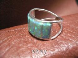 Green Opal Inlaid Ring Size 9 Zuni Native American Made Set In S. Silver R42B