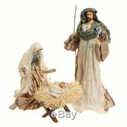 Holy Family Nativity Set LARGE Handcrafted Artisan Look Christmas Resin taffeta