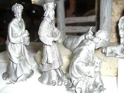Htf Rawcliffe Pewter Nativity With Creche 2008 New Store Stock Retired Christmas