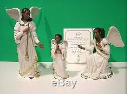 LENOX OH HOLY NIGHT Nativity ANGELS set of 3 NEW in BOX withCOA African American
