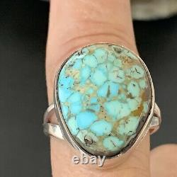MENS Native Navajo Sterling Silver Blue Spiderweb Turquoise Ring Set Sz 10 01831