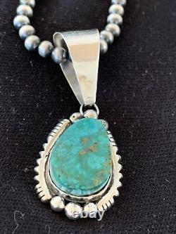 MENs Native American Sterling Silver KINGMAN Turquoise Necklace Pendant Set 1124