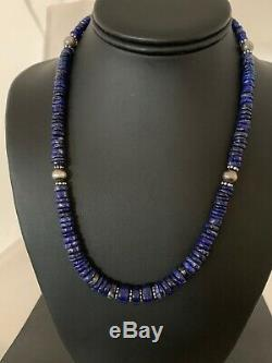 Mens Native American Graduated Lapis Lazuli Sterling Silver Necklace Set 2728
