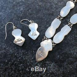 Multi Stone Sterling Silver Native American Necklace With Earrings Set