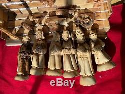 NATIVITY SET 11 Figures + Stable 9x13x11 Deluxe Hand Carved From Olive Wood