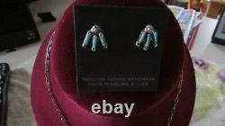 NWT Zuni Native American Needle Point Turquoise Necklace & Earrings Set & Signed