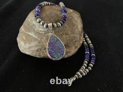 Native Amer Navajo Sterling Silver Purple OPAL Sugilte Necklace Pendant Set 415
