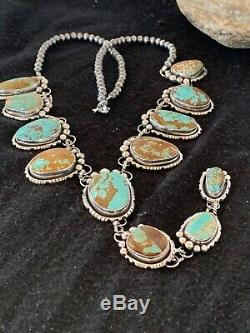 Native Amer Navajo Turquoise#8 LARIAT Necklace Sterling Silver Pendant Set 4236