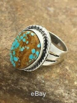 Native America Navajo Indian Sterling Silver Blue Turquoise #8 Ring Set 7.5 2866