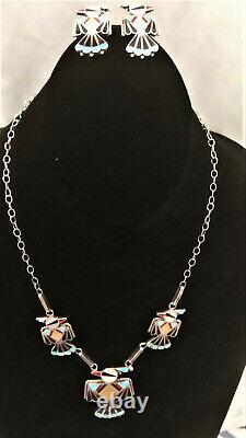 Native American Indian Inlay THUNDERBIRD Necklace and Earring Set Zuni Silver