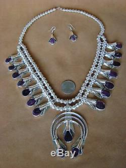Native American Jewelry Spiny Oyster Squash Blossom Necklace Set Louise Yazzie
