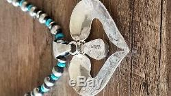 Native American Jewelry Sterling Silver Feather Heart Turquoise Necklace Set! Si