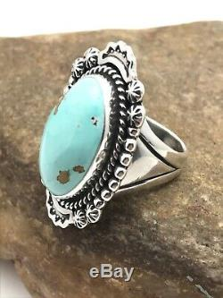 Native American NAVAJO Sterling Silver DRY CREEK Turquoise Ring Set 10.75 3259
