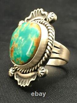 Native American NAVAJO Sterling Silver Royston Turquoise Ring Set 7 4184