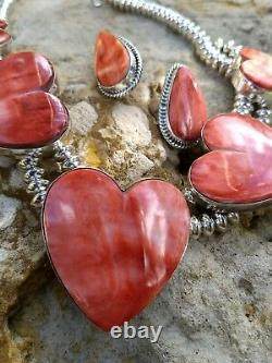 Native American Navajo 15 Red Spiny Oyster Necklace & Earring Signed Set