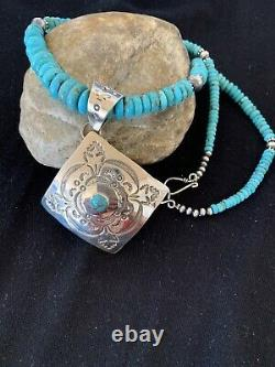 Native American Navajo Blue Turquoise Sterling Silver Necklace Pendant Set 109