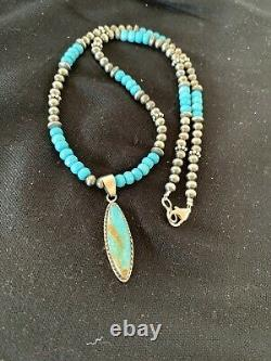 Native American Navajo Blue Turquoise Sterling Silver Necklace Pendant Set 563
