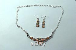 Native American Navajo Indian Jewelry Sterling SS Orange Spiny Necklace Set