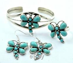 Native American Navajo Indian Jewelry Sterling Silver Turquoise Dragonfly Set
