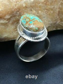 Native American Navajo Indian Sterling Silver Blue Turquoise #8 Ring Set 8 2864