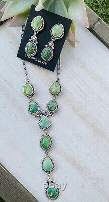Native American Navajo Sonoran Gold Turquoise & Sterling Silver Lariat Set