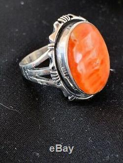 Native American Navajo Spiny Oyster Ring Set Sterling Silver Size 9 Gift 2733