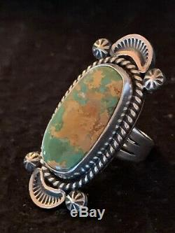 Native American Navajo Sterling Silver Green Turquoise Ring Set 7 4138
