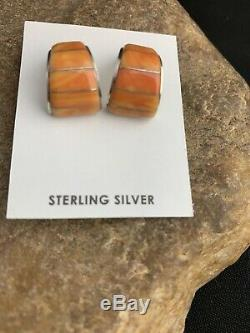 Native American Navajo Sterling Silver Orange Spiny Oyster Earrings Set 190