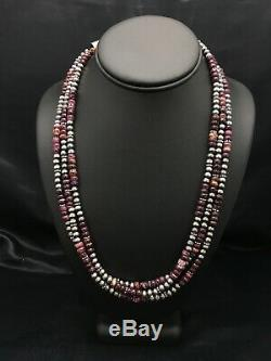 Native American Navajo Sterling Silver Purple Spiny Oyster Necklace 22 Set 2928