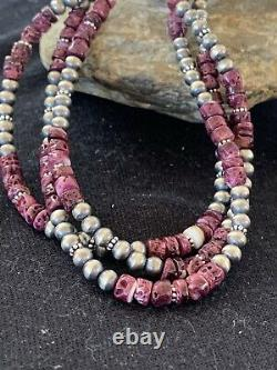 Native American Navajo Sterling Silver Purple Spiny Oyster Necklace 22 Set 467