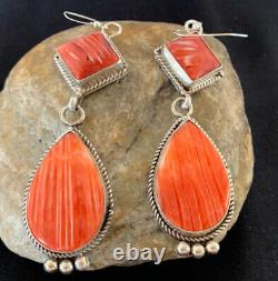 Native American Navajo Sterling Silver Red Spiny Oyster Dangle Earrings Set 203