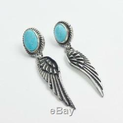 Native American Navajo Sterling Silver Turquoise Feather Earrings Necklace Set