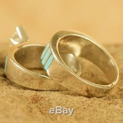 Native American Navajo Sterling Silver Turquoise Inlay CZ Wedding Ring Set Sz 6