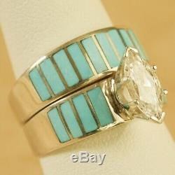 Native American Navajo Sterling Silver Turquoise Inlay CZ Wedding Ring Set Sz 7