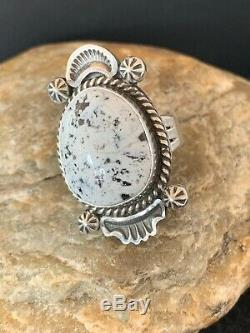 Native American Navajo Sterling Silver WHITE BUFFALO Turquoise Ring Set 8 4140