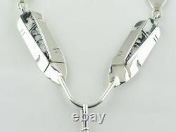 Native American Navajo Sterling Silver White Buffalo Necklace and Earrings Set