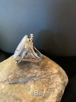 Native American Navajo Sterling Silver White Buffalo Turquoise Ring Set 11 3226