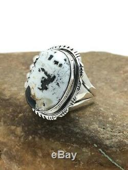 Native American Navajo Sterling White Buffalo Turquoise Ring Set 10.75 3157 Gift