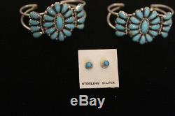 Native American/Navajo Turquoise Child Bracelet Set With Earring