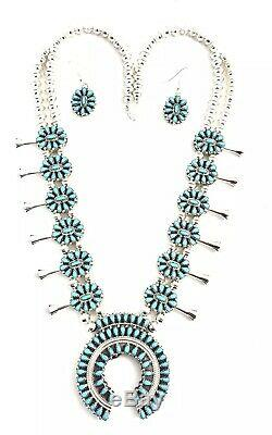 Native American Reversible Turquoise And Coral Squash Blossom Necklace Set